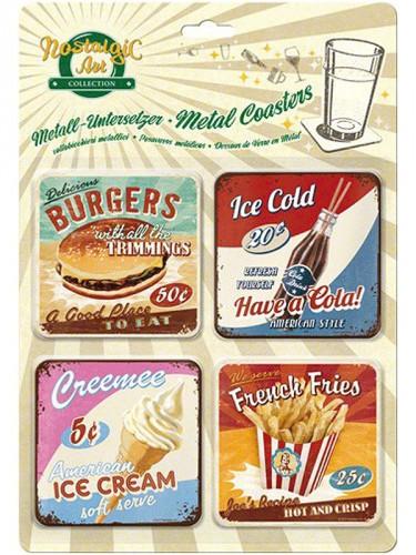 Fifties onderzetters junk food 9 x 9 cm