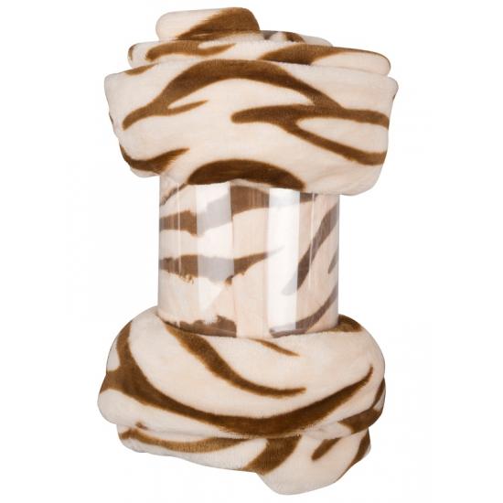 Fleece plaid beige zebra