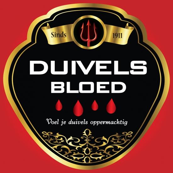 Flessen etiketten voor duivels bloed
