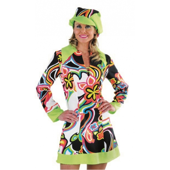 Flower power hippie jurk dames