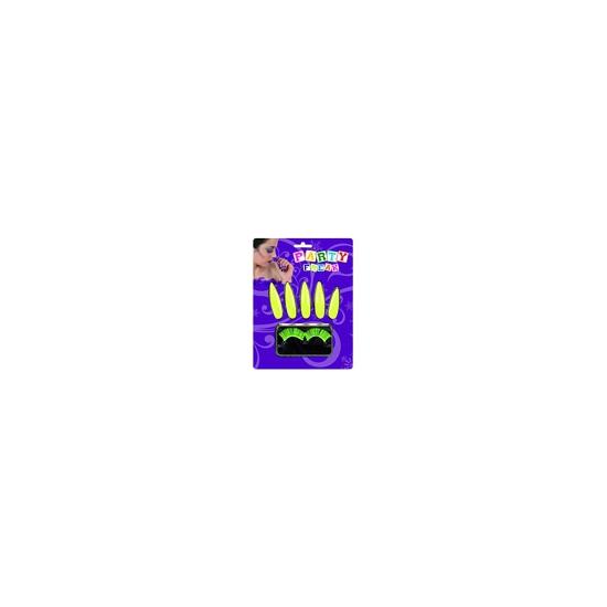 Fluor gele set van nagels en wimpers