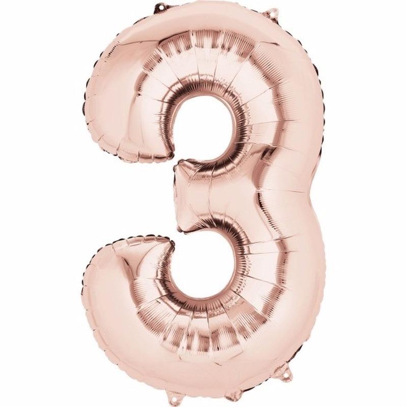 Folie ballon cijfer 3 rose goud