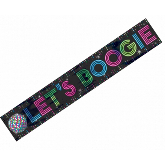 Folie banner Lets Boogie disco feest