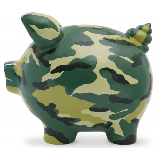 Gadget spaarpot varkentje Camouflage Print 20 cm