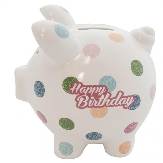 Gadget spaarpot varkentje Happy Birthday 20 cm
