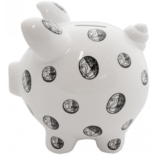 Gadget spaarpot varkentje Muntgeld Print wit 20 cm