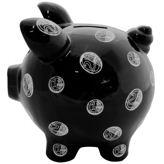 Gadget spaarpot varkentje Muntgeld Print zwart 20 cm