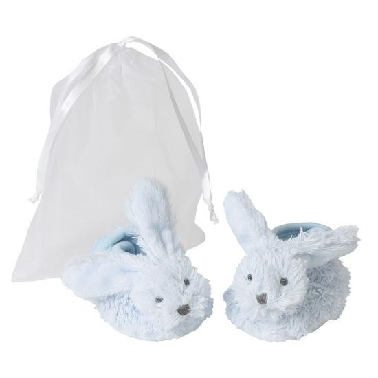 Geboorte blauwe baby slofjes konijn