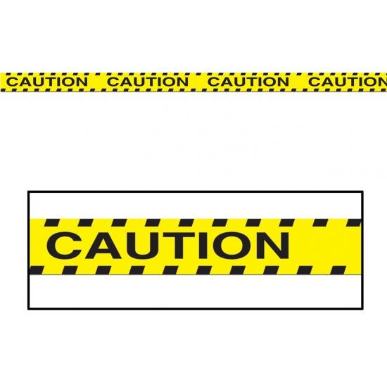Geel afzetlint met de tekst Caution 6 meter