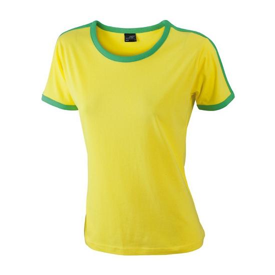 Geel dames t shirt met groene contrast