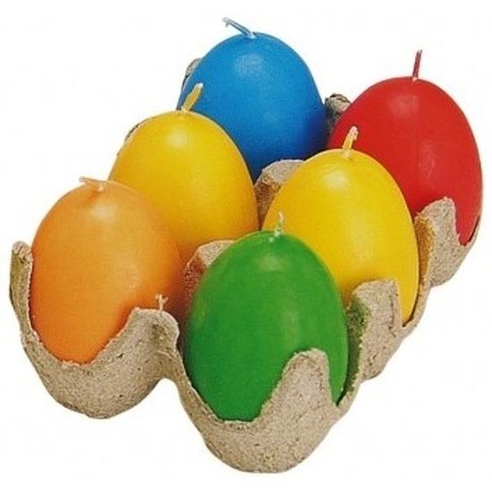 Gekleurde eieren kaarsjes 6 stuks