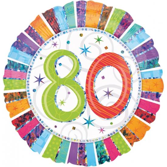 Gekleurde folie ballon 80 jaar