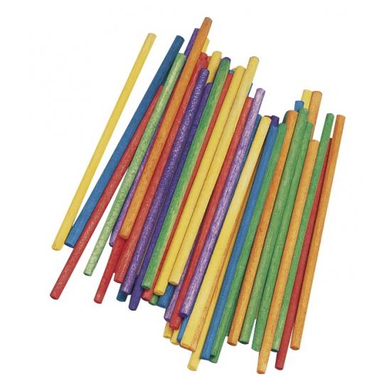 Gekleurde houten knutsel stokjes 10 cm