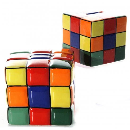 Gekleurde kubus spaarpotten 10 cm