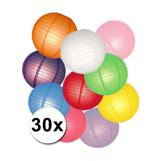 Gekleurde lampionnen pakket 30 stuks