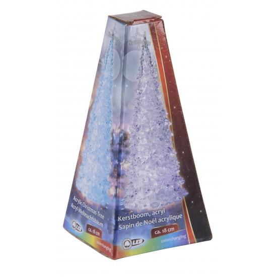 Gekleurde LED licht kerstboom 18 cm