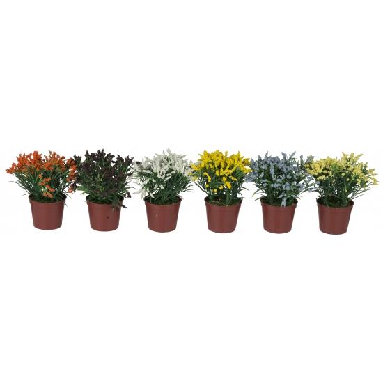 Gekleurde liriope kunstbloem in pot
