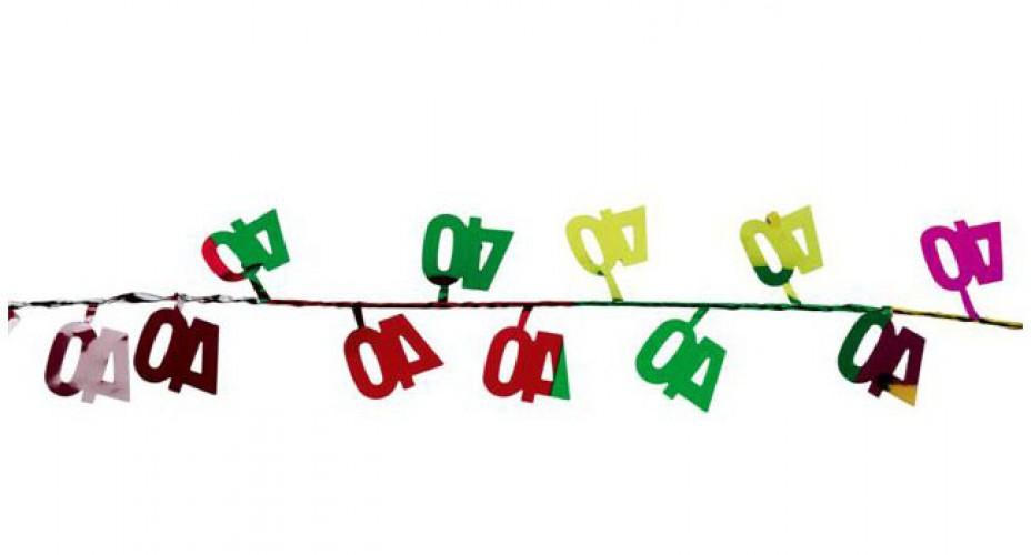 Gekleurde slinger 40 jaar 270 cm