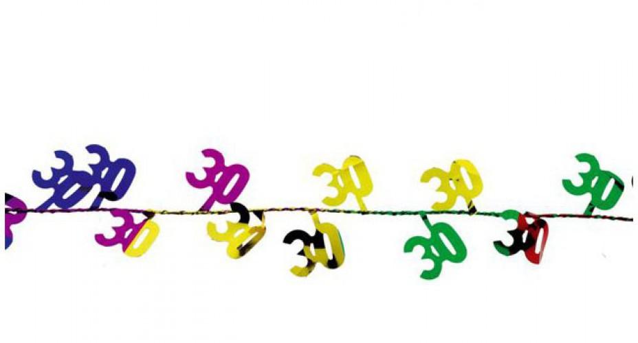 Gekleurde slingers 30 jaar 270 cm