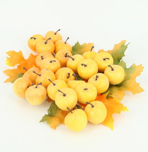 Gele decoratie appeltjes 2 cm