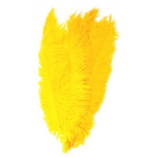 Gele decoratie veren 50 cm