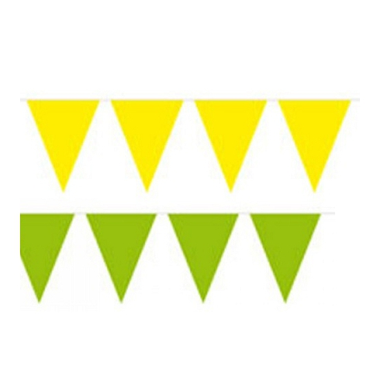 Gele en groene feest vlaggenlijnen
