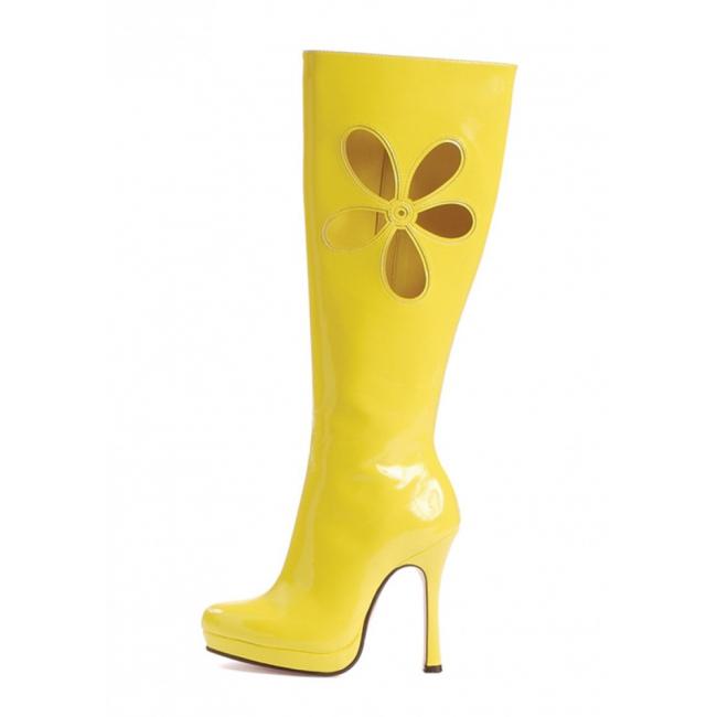 Gele flower power laarzen met hak