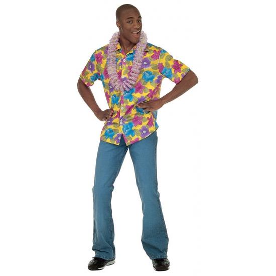 Gele Hawaii blouse voor volwassenen