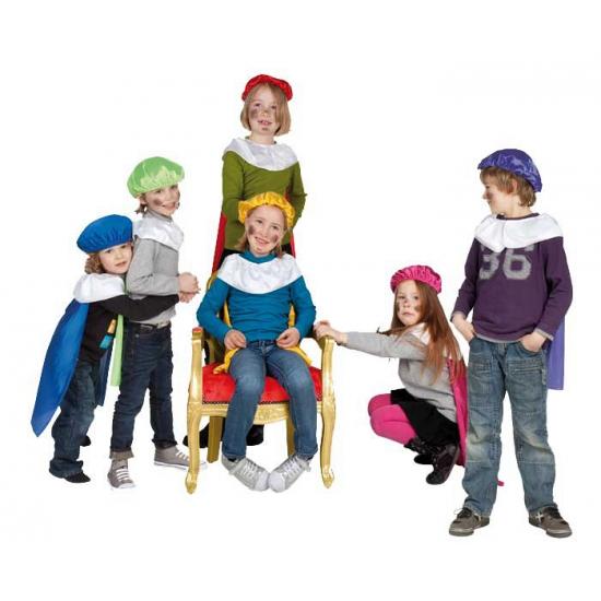 Gele pieten baret en cape voor kinderen