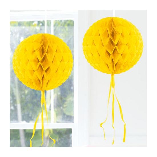 Gele versiering bol 30 cm