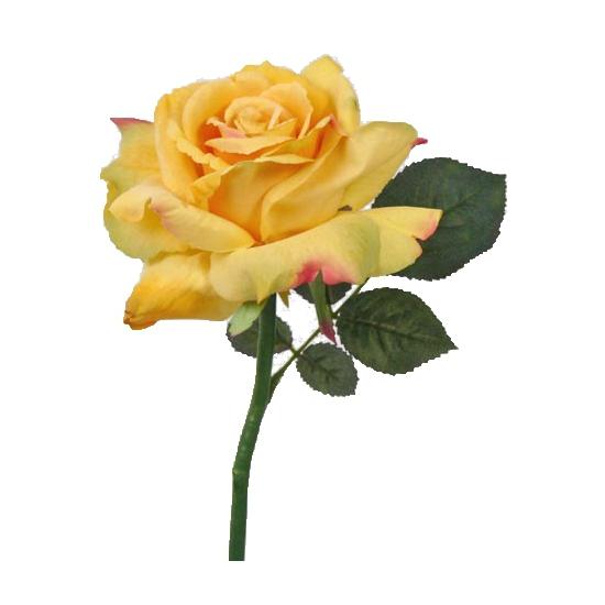 Gele zijden roos 31 cm