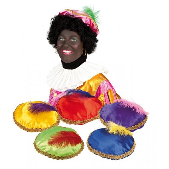 Gele Zwarte Piet baret met veer