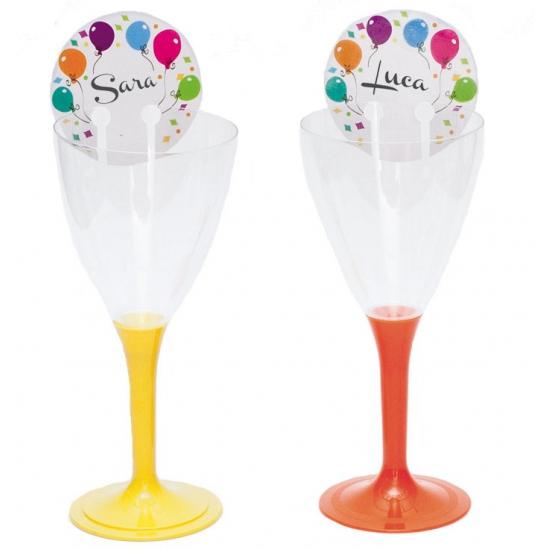 Glas naamkaartje met ballonnen
