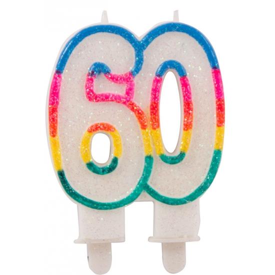 Glitter kaars cijfer 60