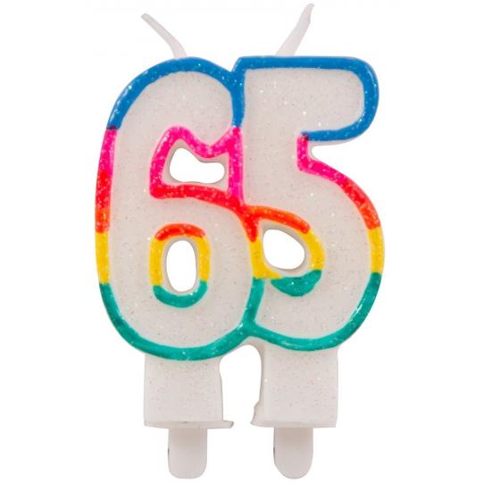 Glitter kaars cijfer 65