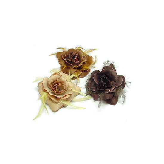 Glitter roos naturel kleuren voor in het haar