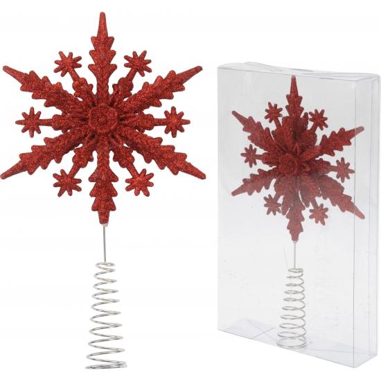 Glitter sneeuwvlok piek rood