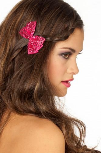 Glitter strikje roze