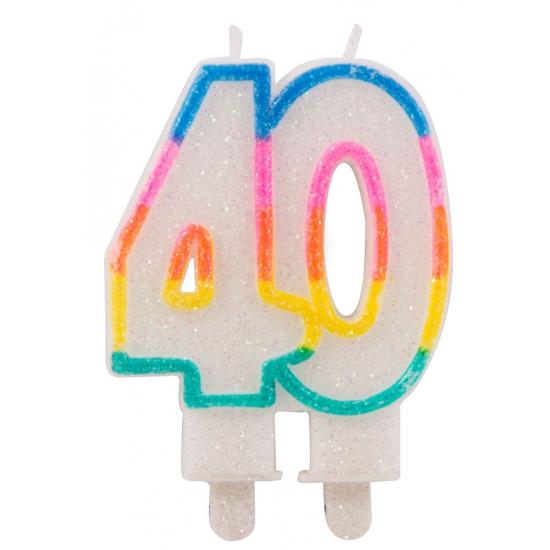 Glitter taartkaars 40