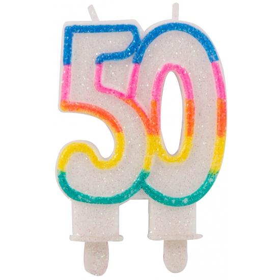 Glitter taartkaars 50