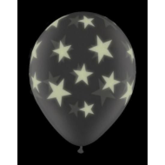 Glow in het donker ballon met sterren 28 cm
