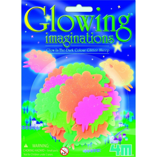 Glow in the dark schapen met glitter