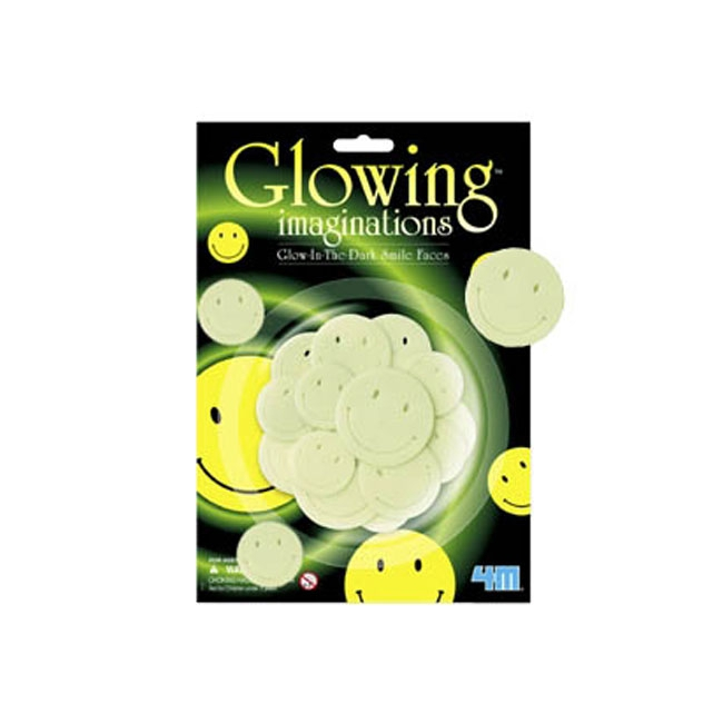 Glow in the dark smiley hoofdjes 14 stuks