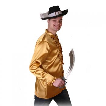 Goud piraten heren overhemd met ruches