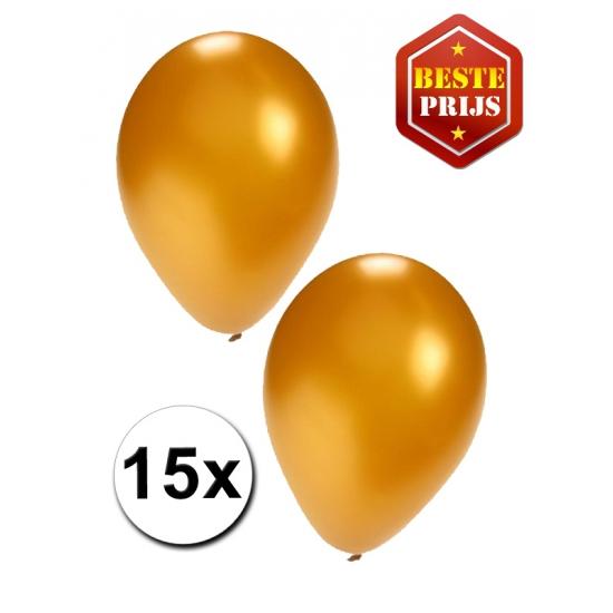 Gouden ballonnen 15 stuks