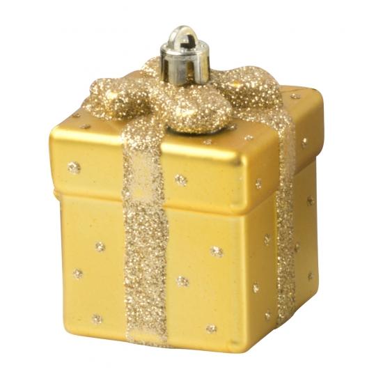 Gouden kerstbal in cadeau vorm