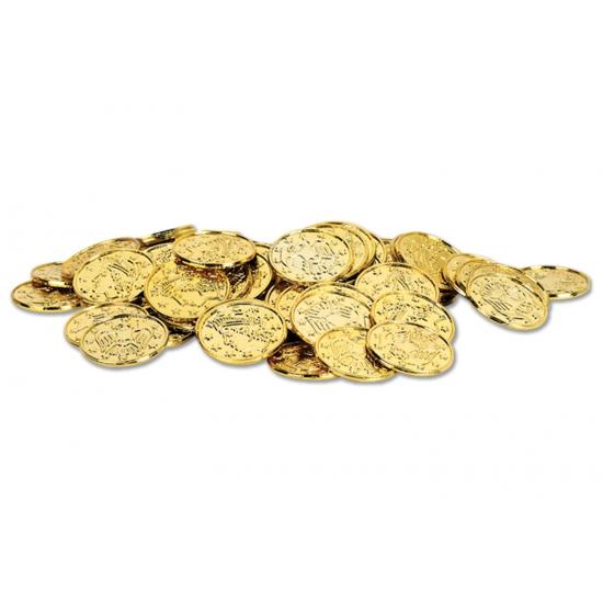 Gouden schatkist muntjes 100 stuks
