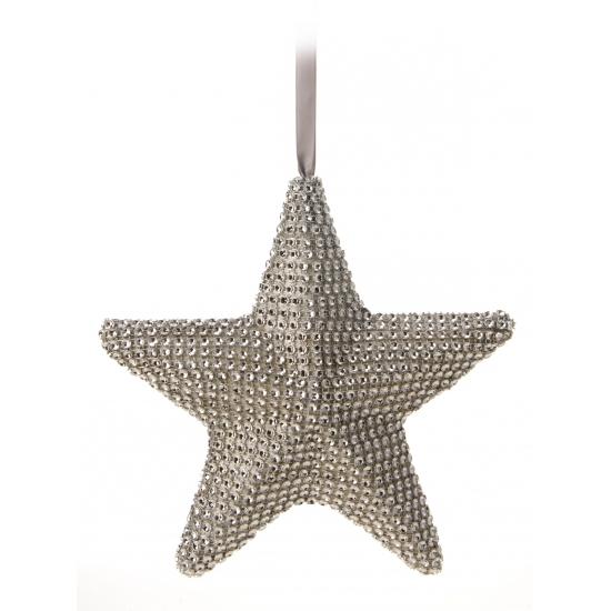 Grijze kerstboom hanger ster 21 cm