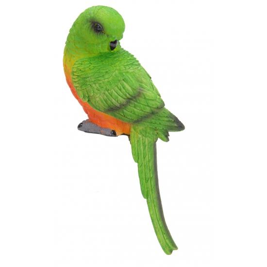 Groen met oranje papegaai 21 cm