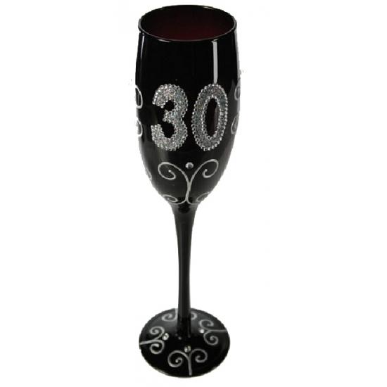 Groot zwart glitter glas 30 jaar